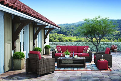 Ashley Furniture Signature Design - Meadowtown 4-Piece Outdoor Furniture Set - Sofa, 2 Lounge Chairs & Table - Red & Brown