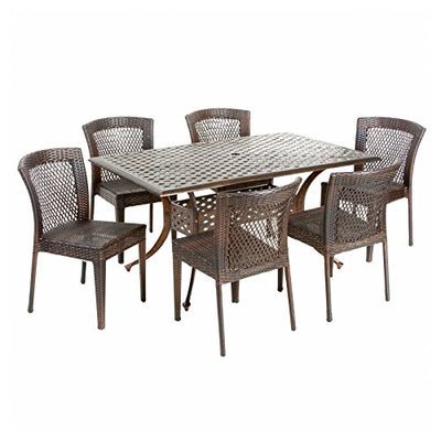 Best Selling Home Decor Furniture Landry Wicker 7 Piece Rectangular Patio Dining Set