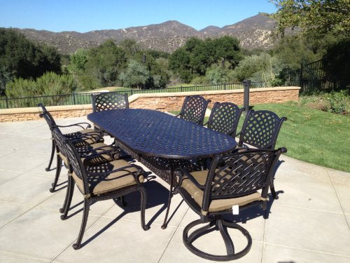 "Heritage Outdoor Living Nassau Cast Aluminum 9pc Outdoor Patio Set with 42""x102"" Oval Table - Antique Bronze"