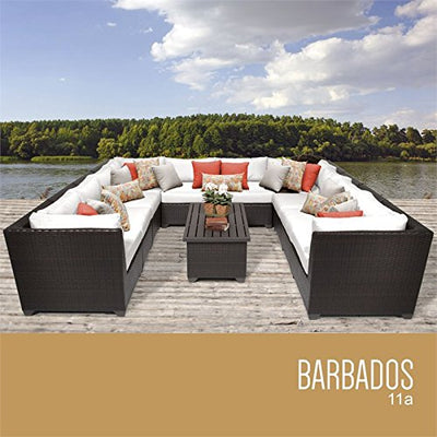 TKC Barbados 11 Piece Patio Wicker Sectional Set in White