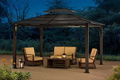 Sunjoy 10' x 12' Galvanized Steel Hardtop Gazebo - Black Top