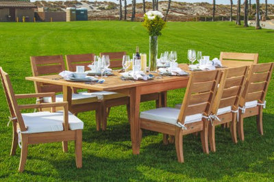 "Grade-A Teak Wood luxurious 9 pc Dining Set : 122"" Atnas Rectangle Table, 6 Armless and 2 Arm / Captain Atnas Chairs #TSDSAT2"