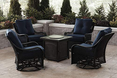 Hanover ORL5PCFPSQ-NVY Orleans 5-Piece Fire Pit Chat Set in Navy Blue Outdoor Furniture
