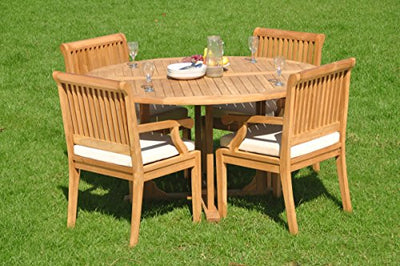 "WholesaleTeakFurniture Grade-A Teak Wood 4 Seater 5 Pc Dining Set: 60"" Round Table and 4 Sack Arm Chairs #WFDSSK1"