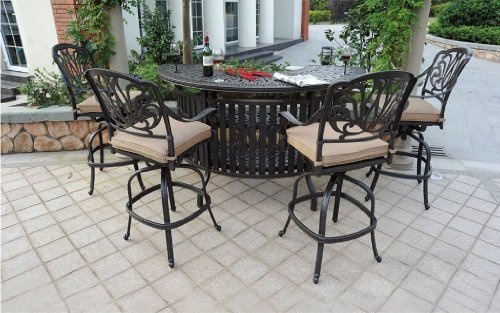 Heritage Outdoor Living Cast Aluminum Elisabeth 5pc Party Bar Set with Party Bar- Antique Bronze
