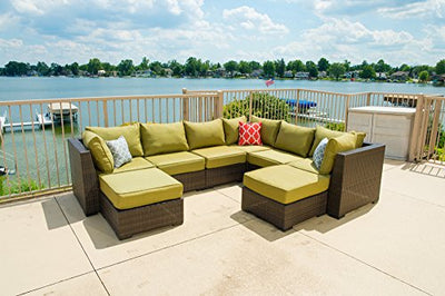 Vida Outdoor VD-PACIFIC-3CS3AS2OT-PALM Pacific 8 Piece Wicker Sectional Set-Palm Chair