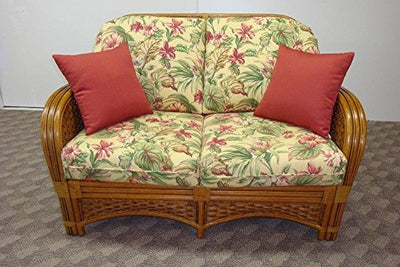 Boca Rattan Pelican Harbor Love Seat in Royal Oak - Scrolling Leaves