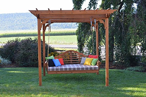 "A&L Furniture Co. 6' x 8' Amish-Made Cedar Pergola with 75"" Marlboro Swing Bed, Walnut"