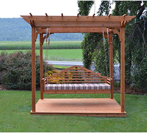 A & L Furniture Co. Western Red Cedar 8'x10' Pergola w/Deck & Swing Hangers - Ships Free in 5-7 Business Days