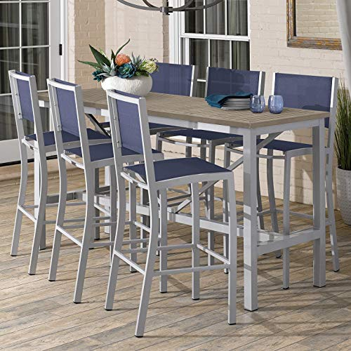 Oxford Garden Travira 7-Piece 72-in x 30-in Tekwood Vintage Bar Table & Sling Bar Chair Set - Ink Sling