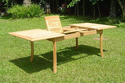 "11-pc Outdoor Teak Dining Set: 94"" Rectangle Extension Table, 2 Arms & 8 Armless Osbo Chairs"