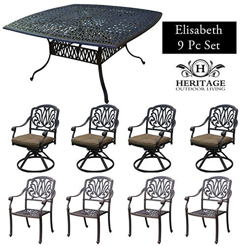 Heritage Outdoor Living Cast Aluminum Elisabeth Outdoor Patio 8 Person Dining Set - Includes Lazy Susan & Seat Cushions - Antique Bronze Finish