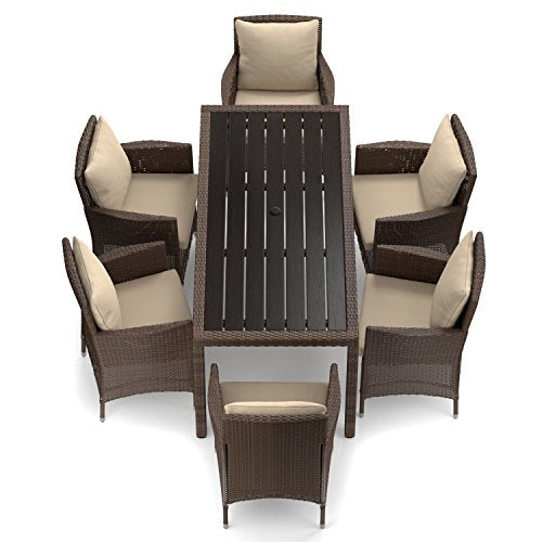 14th Mobility Rectangle 7-Piece Outdoor/Indoor Dining Set with Cushions, Table with Umbrella Hole, Aluminum Frame Construction and All-Weather Woven Resin Rattan, Brown + Expert Guide