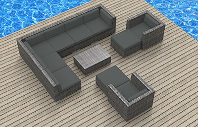 UrbanFurnishing.net 11b-aruba3-charcoal 11 Piece Modern Patio Furniture Sofa Sectional Couch Set