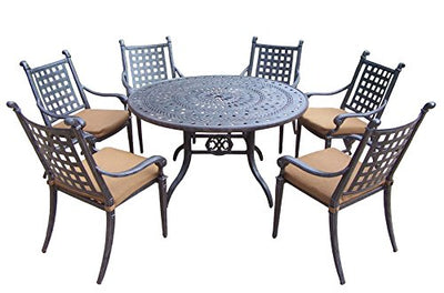 Oakland Living Belmont 7-Piece Round Dining Table Set with Sunbrella Cushions, 54-Inch
