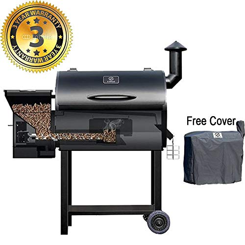 Z GRILLS Wood Pellet Grill & Smoker 7 in 1 Electric BBQ Grill - 700Sq.in Cooking Area for Outdoor BBQ Smoker Roast, Bake,Braise and BBQ Grill with Free Grill Cover