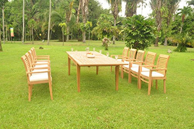 "TeakStation 10 Seater Grade-A Teak Wood 11 Pc Dining Set: 122"" Atnas Double Extension Rectangle Table and 10 Mas Stacking Arm Chairs #TSDSMSDSMS38"