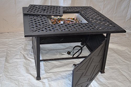 "Nassau Outdoor Patio Square 42"" Universal Fire Pit Coffee Table Dark Bronze Cast Aluminum"