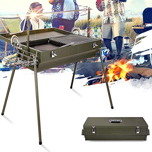 BBQ grill Folding Charcoal Grill, Portable Green Drawer Long, Outdoor Picnic Camping Garden 5-10 People / 65X60X70cm
