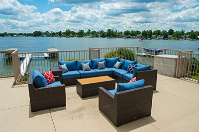 Vida Outdoor VD-PACIFIC-4AS2CS2CC1ET1CT-DENIM Pacific 10 Piece Wicker Sectional Set-Denim Chair
