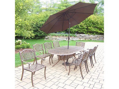 Oakland Living Mississippi 11-Piece Dining Set with 84 by 42-Inch Oval Table, 8 Chairs, 9-Feet Tilt and Crank Brown Umbrella and Stand
