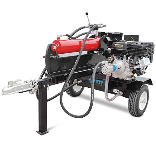 Titan Towable Gas Powered Hydraulic Pivoting Log Wood Splitter 37 Ton Pull Start