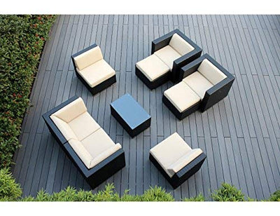 Ohana 16-Piece Outdoor Patio Furniture Sofa, Dining and Chaise Lounge Set, Black Wicker with Beige Cushions - Free Patio Cover