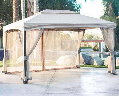 Jjoy- Cream Polyester Aluminum Frame 13' x 10' -Screened in Gazebo-Gazebo with Mosquito Netting-Additional Shade for Your Outdoor Events