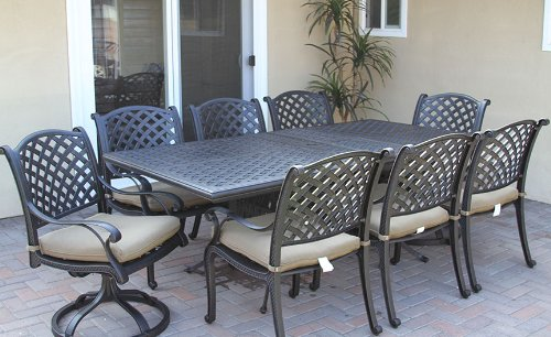 "Heritage Outdoor Living Cast Aluminum Nassau 9pc set with 42"" x 60"" - 84"" Extendable Table - Antique Bronze"