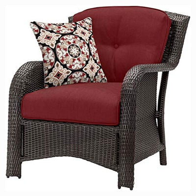 Patio Furniture Sets, Brown Resin Wicker 6-Piece Patio Furniture Lounge Set with Red Seat Cushions