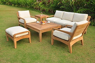 Noida 6 Piece Teak Lounge Sofa Set - 3 Seater Sofa, 2 Lounge Chairs, 1 Ottoman, 1 Coffee Table And 1 End Table - Furniture only #TSSSNO