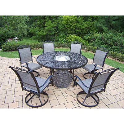 Oakland Living Corporation 8 Pc Dining Set with Table, 6 Swivel Rockers and Ice Bucket