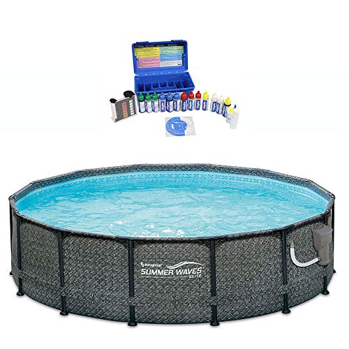 Summer Waves 14 Foot Above Ground Pool Set w/Taylor Pool Water Test Kit