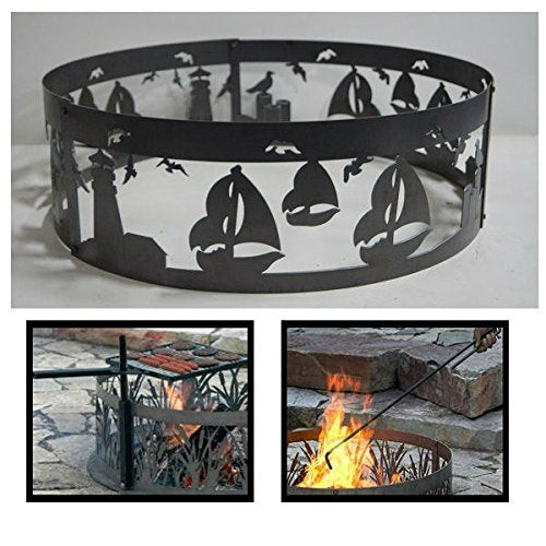 PD Metals Steel Campfire Fire Ring Sailboat Design - Unpainted - with Fire Poker and Cooking Grill - Extra Large 60 d x 12 h Plus Free eGuide
