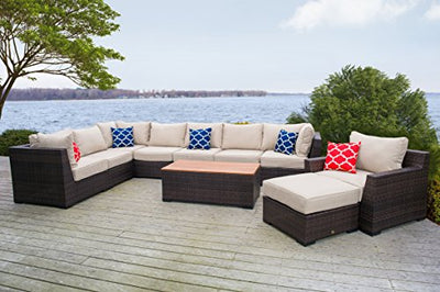 Vida Outdoor VD-PACIFIC-3CS4AS1OT1CT1CC-WHEAT Pacific 10 Piece Wicker Sectional Set-Wheat Chair