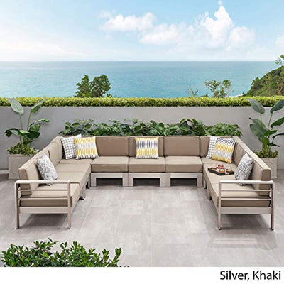 Great Deal Furniture Melissa Outdoor 11 Seater Aluminum U-Shaped Sofa Sectional, Silver and Khaki