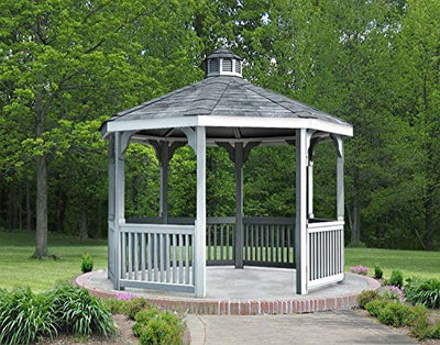 Fifthroom Markets Vinyl Gazebo Octagon 12 Foot - Durable Outdoor Furniture Backyard Seating, Exterior Structures, Home and Garden V1212