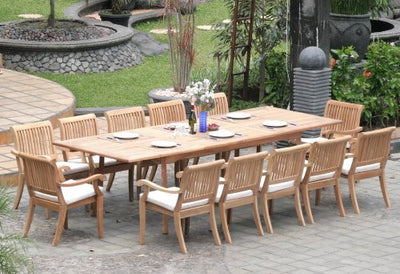 "New 11 Pc Luxurious Grade-A Teak Dining Set - Very Large 122"" Caranasas Rectangle Table and 10 Arbor Stacking Arbor Arm Chairs #WHDSABi"