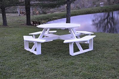 "A&L Furniture 54"" Amish-Made Octagonal Poly Walk-in Picnic Table with Benches, White"