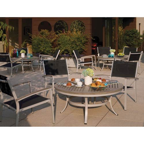 Oxford Garden Travira 5 Piece Aluminum with Vintage Tekwood Sling Cafe Set, Black