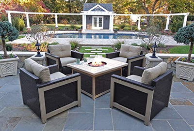 Hanover MNT5PCFPST-TAN Montana 5-Piece Tan with 40,000 BTU Table Outdoor Fire Pit Chat Set