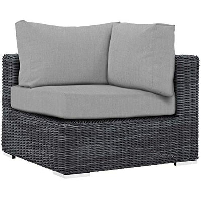 Modern Contemporary Outdoor Patio Lounge Sectional Sofa Set, Sunbrella Rattan Wicker, Grey Gray