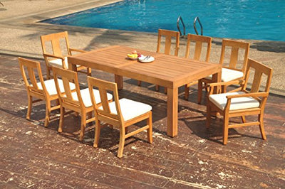 "TeakStation 8 Seater Grade-A Teak Wood 9 Pc Dining Set: 86"" Canberra Rectangle Table and 8 Osborne Chairs (2 Arm & 6 Armless Chairs) #TSDSOSx"