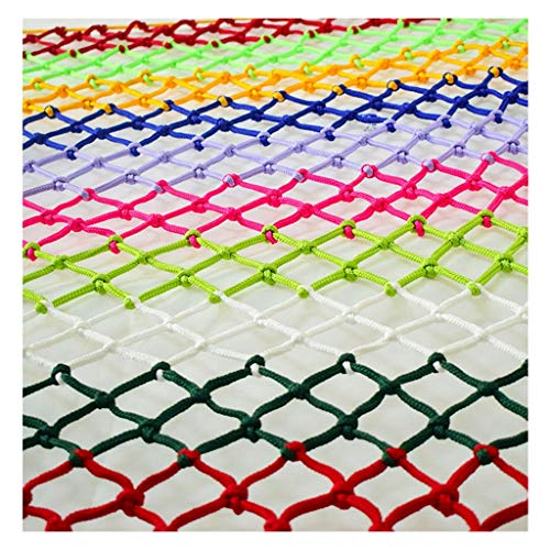 Child Safety Anti-Fall Net, Color Hand-Woven Balcony Window Fence Mesh Traditional Structure Nylon Rope Net, Grid 6mm 8cm (Size: 3 5m) (Size : 49M)