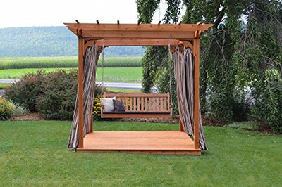 A&L Furniture Co. 6' x 8' Amish-Made Cedar Pergola with Deck and 6' Royal English Porch Swing, Linden Leaf