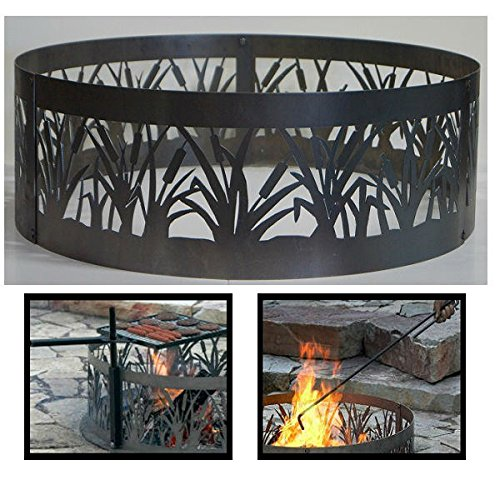 PD Metals Steel Campfire Fire Ring Cattails Design - Unpainted - with Fire Poker and Cooking Grill - Extra Large 60 d x 12 h Plus Free eGuide