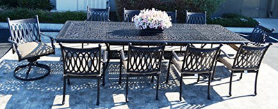 "Grand Tuscany Cast Aluminum Powder Coated 11pc Outdoor Patio Dining Set with 48""x132"" Extension Table With Sunbrella Cushions- Antique Bronze"