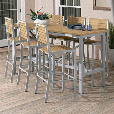 Oxford Garden Travira Silver and Natural 7-Piece Bar Table and Slat Bar Chair Set with Natural Table Top