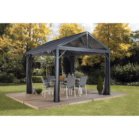 Sojag 10' x 10' Sanibel I Hardtop Gazebo Outdoor Sun Shelter, Light Grey