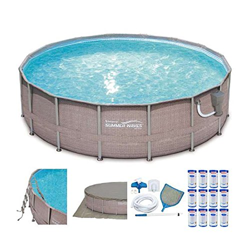 Summer Waves Elite Wicker Print 16'x4' Above Ground Pool + Pump + 12 Cartridges